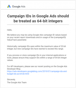 Campaign IDs in Google Ads should be treated as 64-bit integers