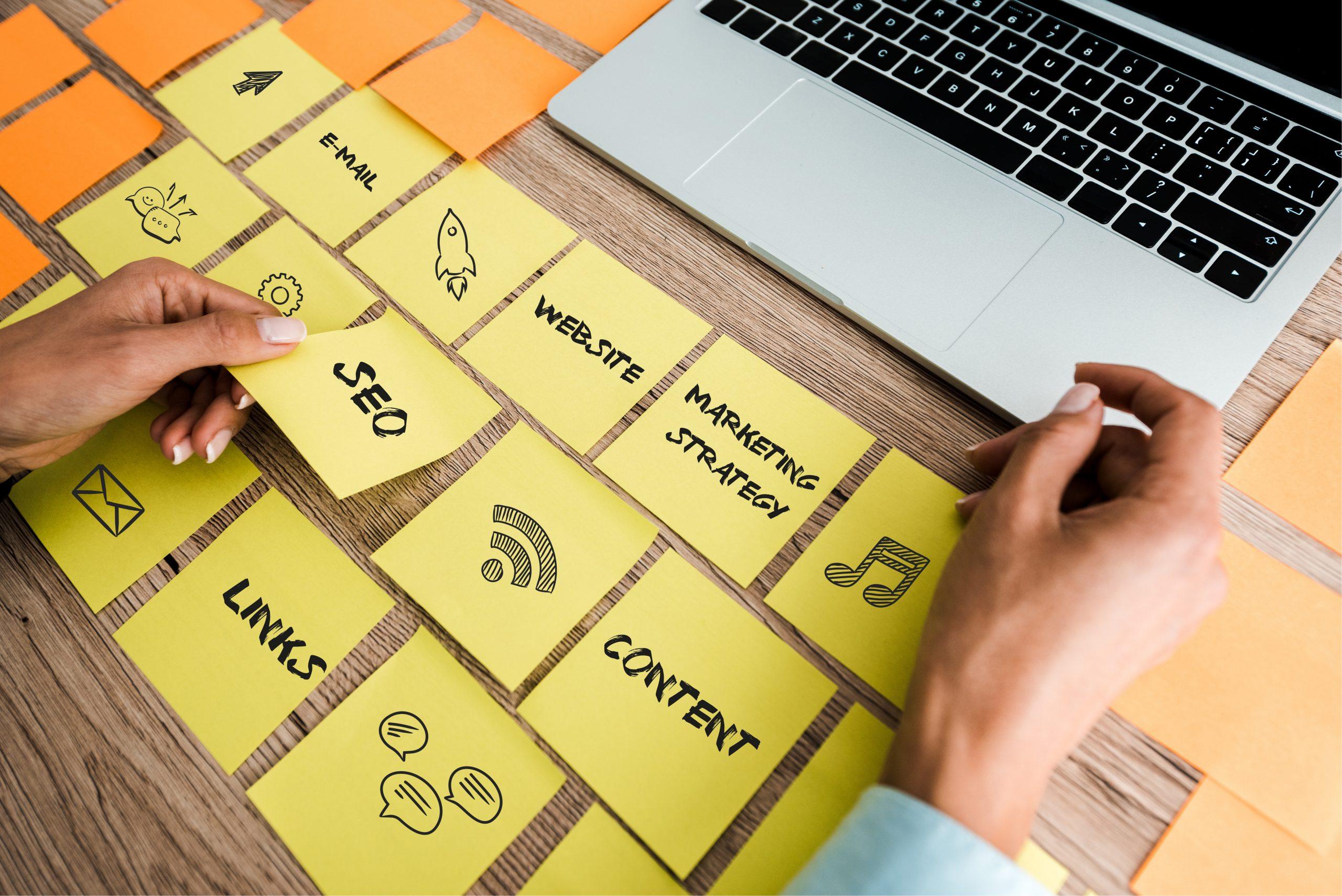 Woman choosing between SEO marketing strategies